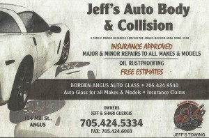 Jeff's Auto Body & Collision older business card